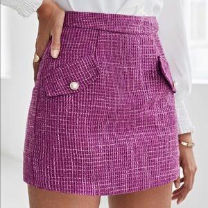 Dresses & Skirts - Flap Detail Zip Back Pink Tweed Skirt